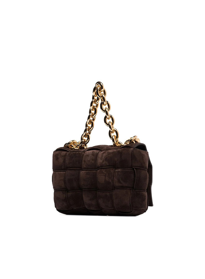 Casette Chain Padded Shoulder Bag in Suede in Brown/Gold