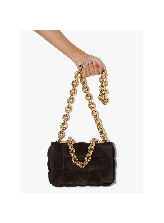 Cassette Chain Padded Shoulder Bag in Suede in Brown/Gold