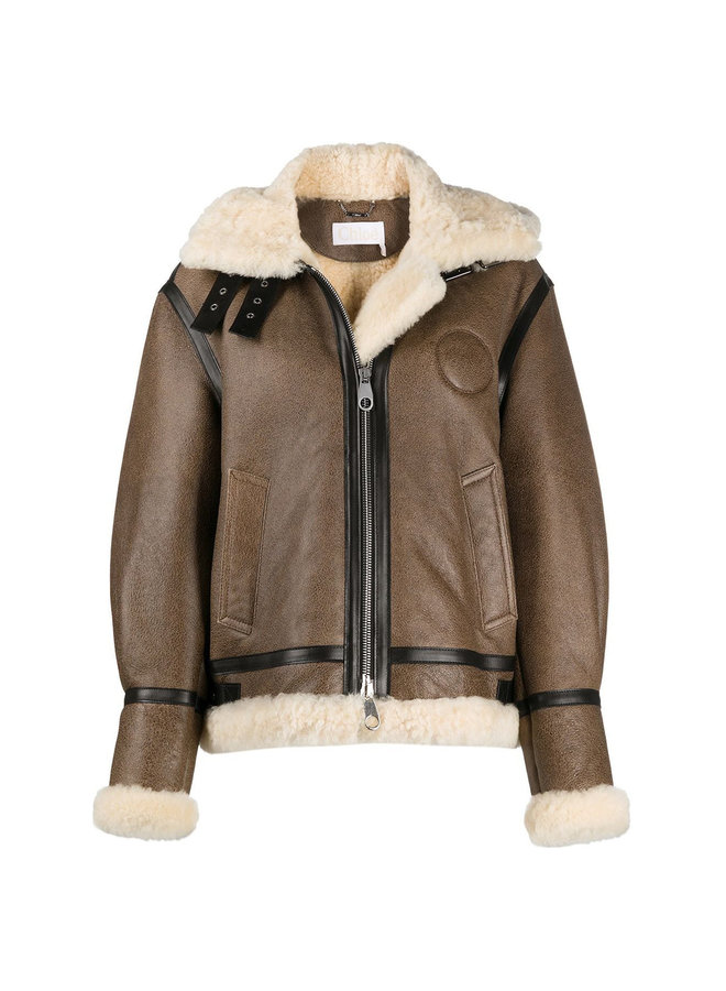 Short Coat in Shearling Leather