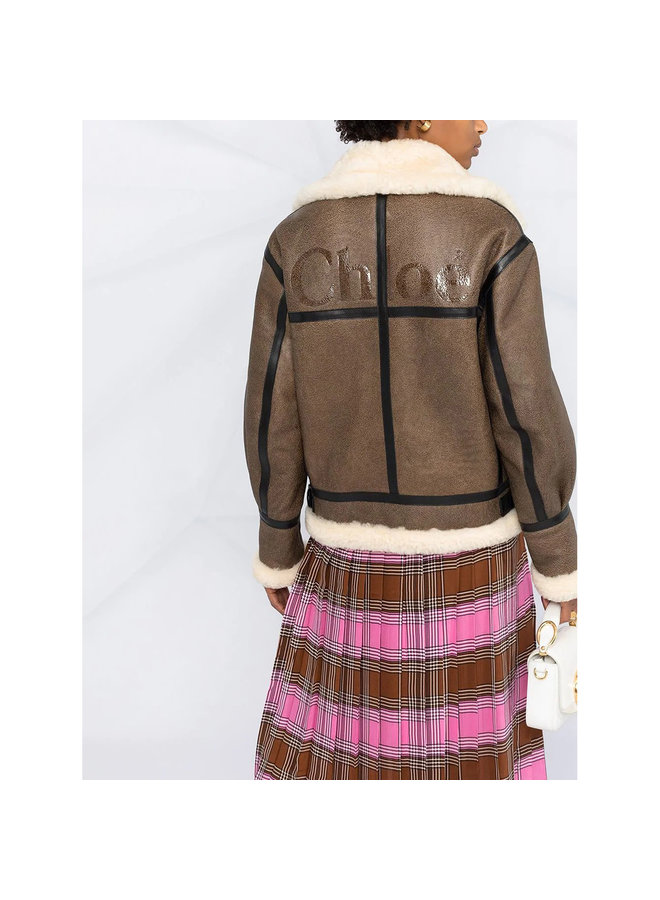 Short Coat in Shearling Leather in Brown