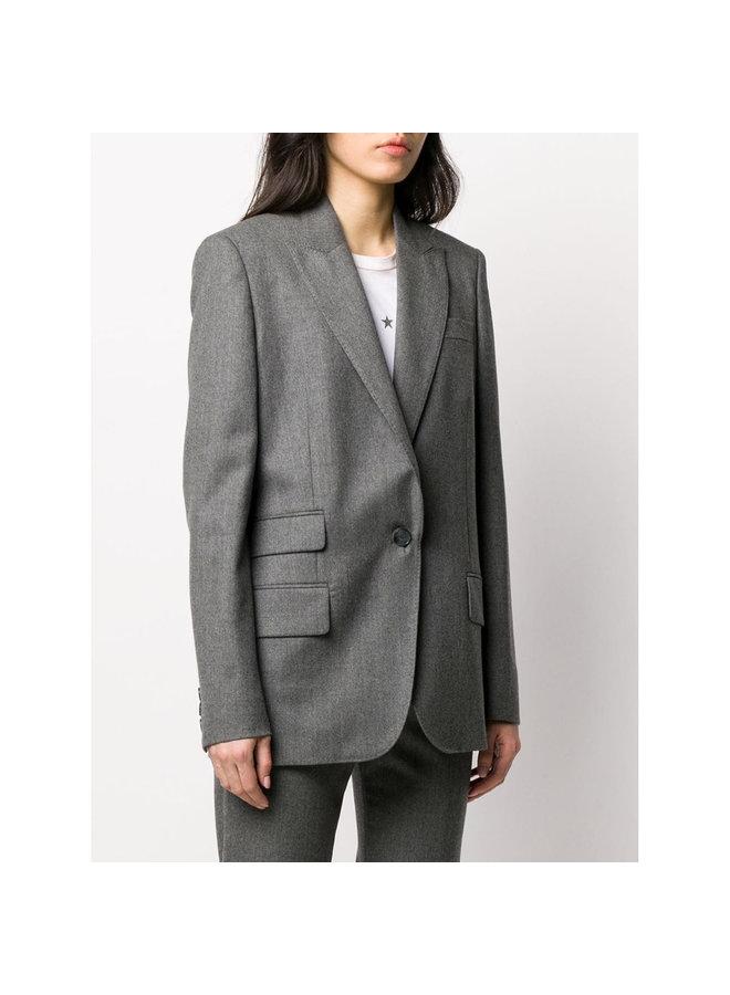 Single Breasted Blazer Jacket in Wool in Grey Melange