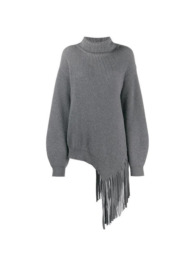 Knitwear Jumper with Fringes in Wool in Grey Melange