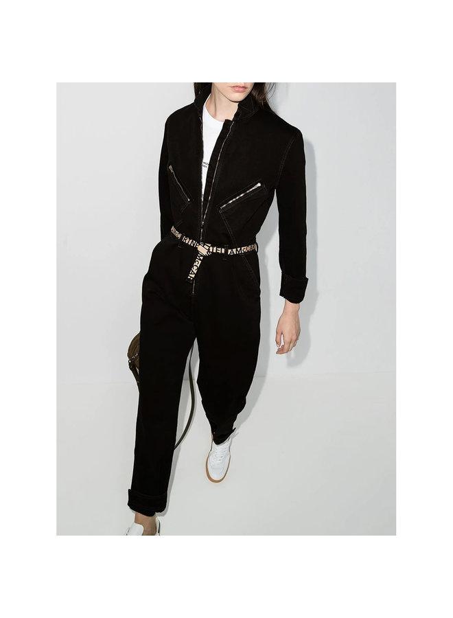 Full Length Jumpsuit in Denim in Black Washed
