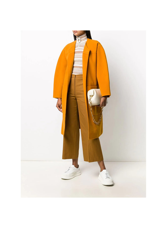 Belted Oversize Coat in Cashmere/Wool in Orange