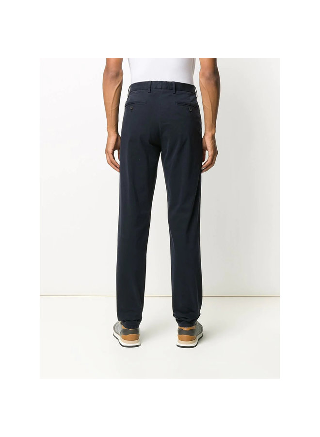 Straight Leg Casual Pants in Stretch Cotton in Navy