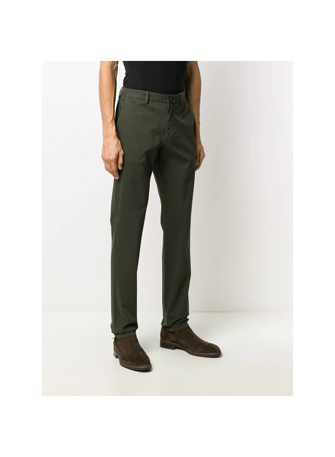 Slim Fit Casual Pants in Stretch Cotton in Khaki