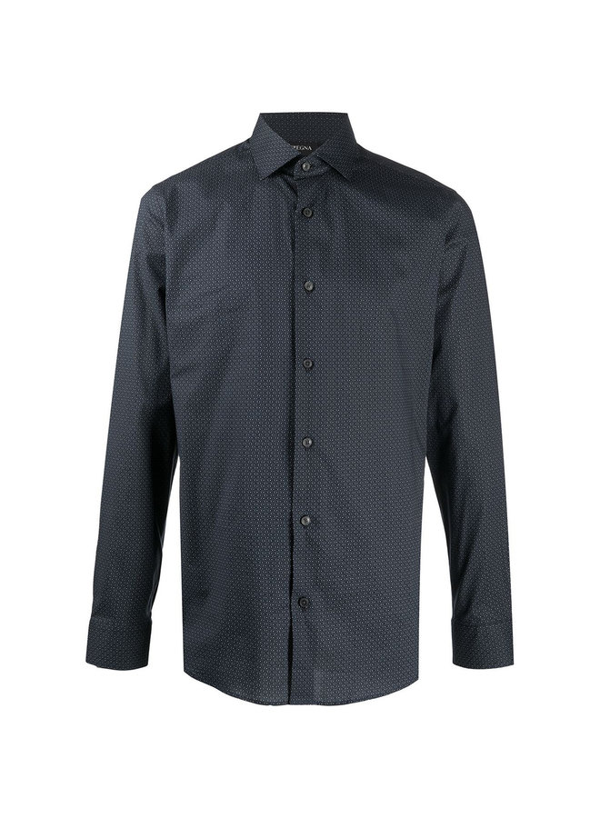 Micro-print Shirt in Cotton in Dark Grey