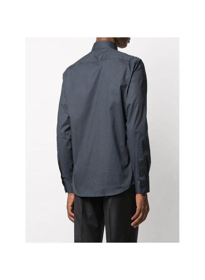 Micro-print Shirt in Cotton in Dark Grey