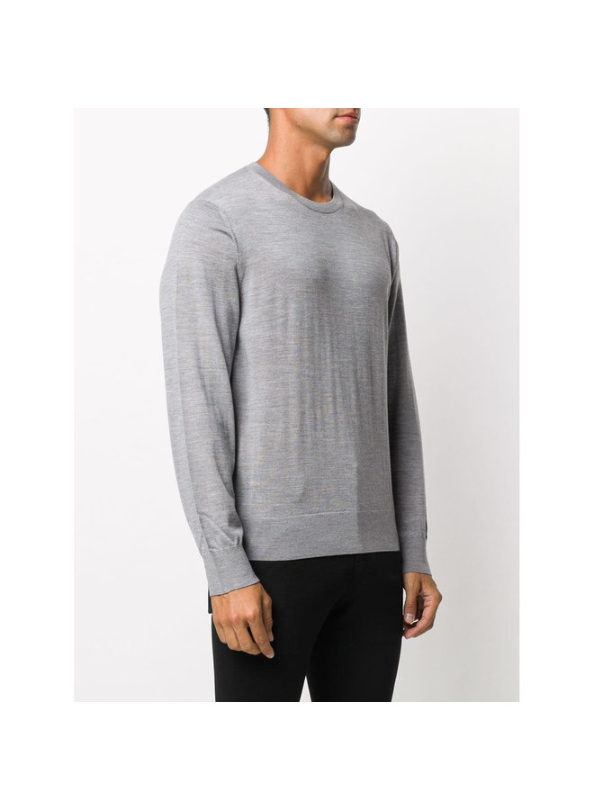 Crew Neck Knitwear Sweater in Wool in Light Grey