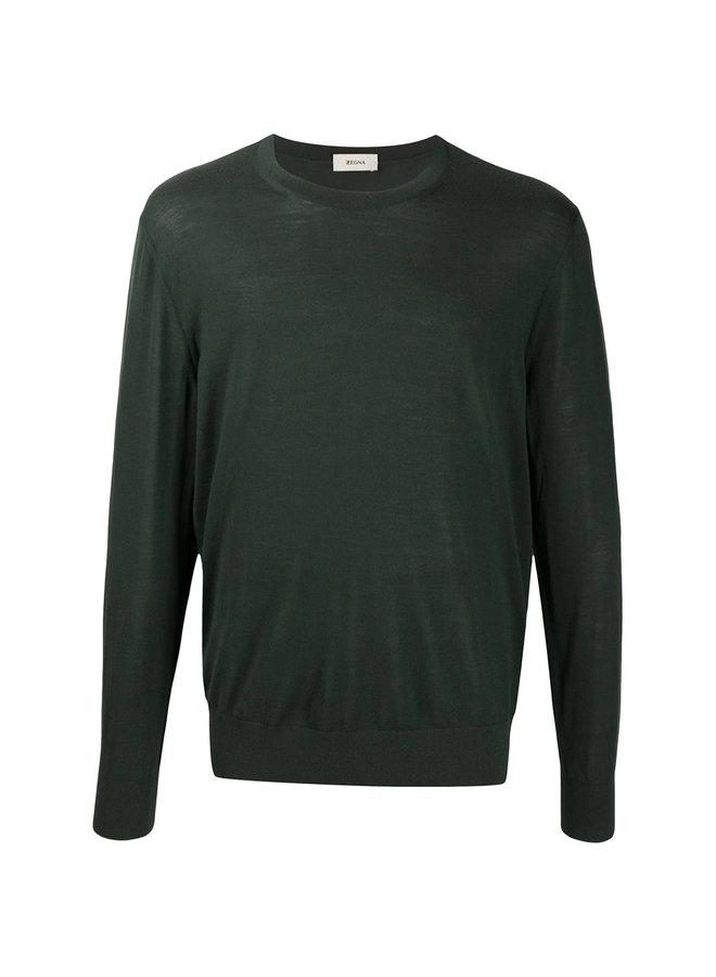 Crew Neck Knitwear Sweater in Wool in Dark Green