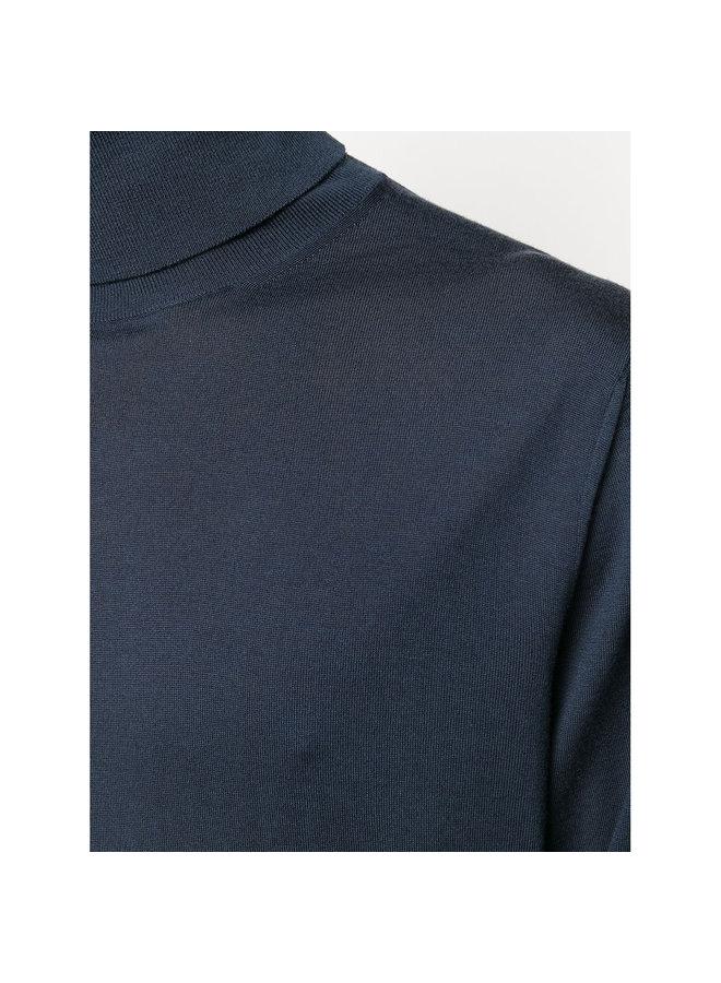 Turtleneck Knitted Sweater in Wool in Blue