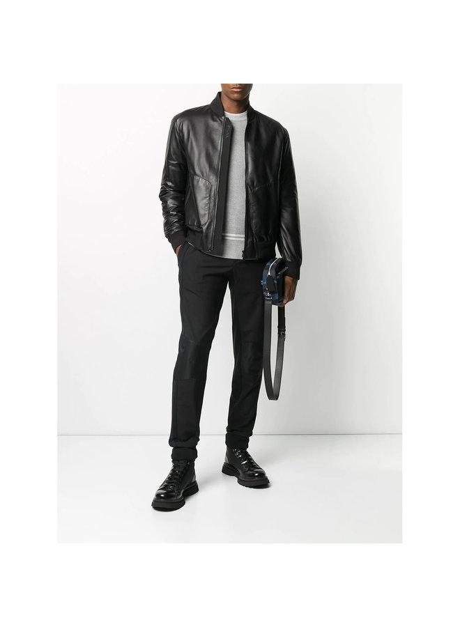 Bomber Jacket in Leather in Black