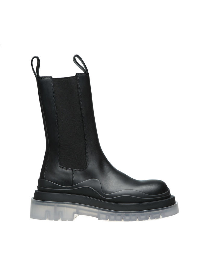 Combat Boots in Leather in Black/Transparent