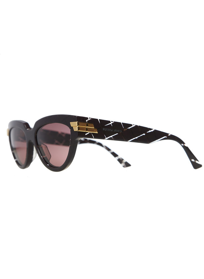 Cat Eye Sunglasses with Printed Frame in Burgandy