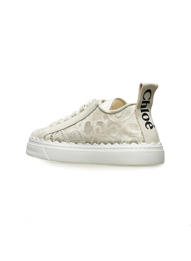 Lauren Low Top Sneakers in Lace in Beige
