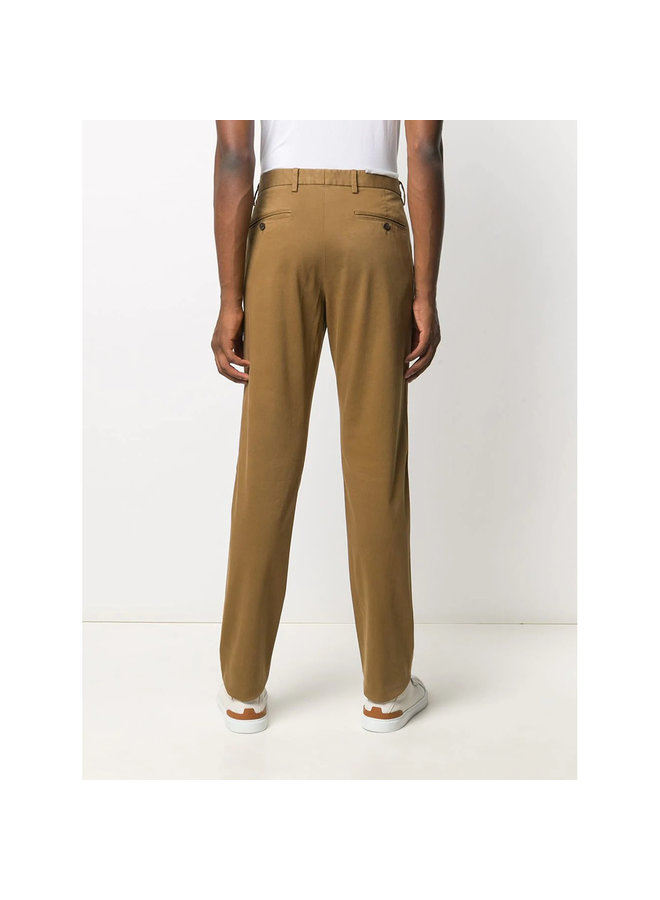 Straight Leg Casual Pants in Cotton in Dark Vicuna