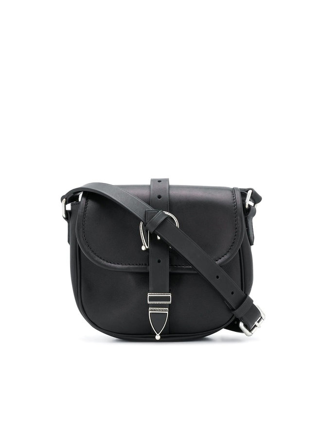 Rodeo Small Buckle Shoulder Bag in Leather in Black