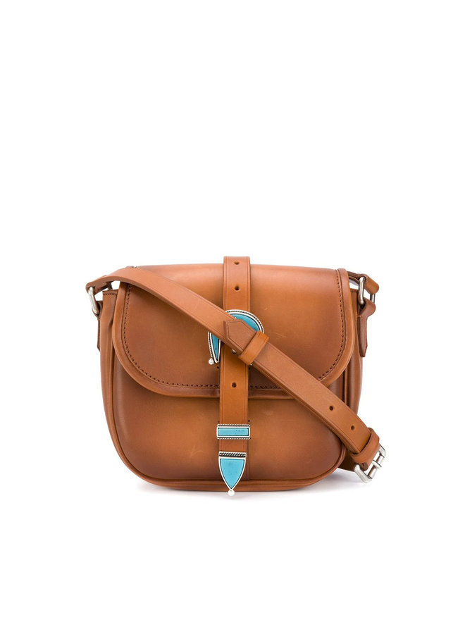 Rodeo Small Buckle Shoulder Bag in Leather in Camel