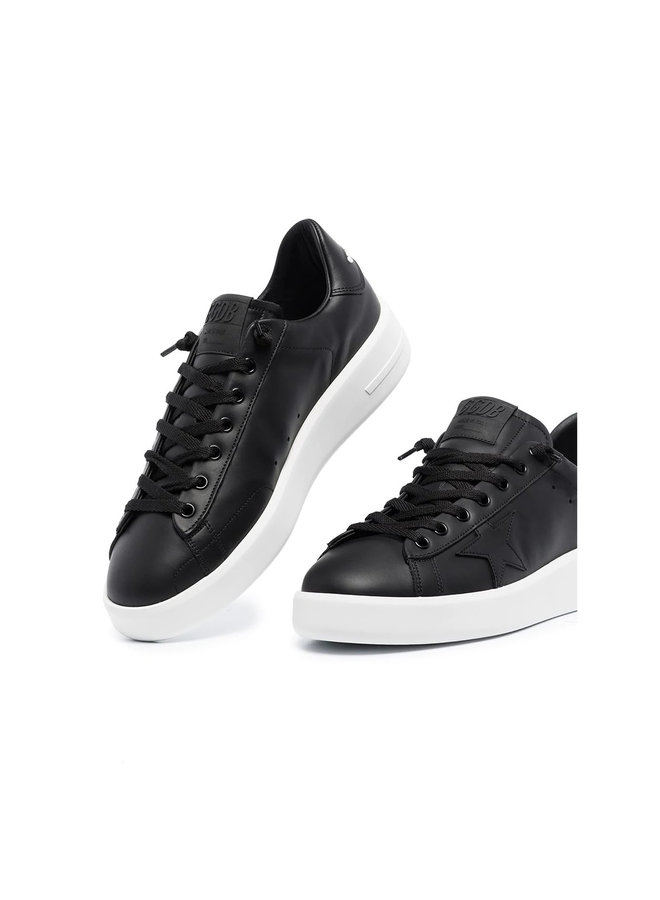 Pure Star Low Top Sneakers in Leather in Black