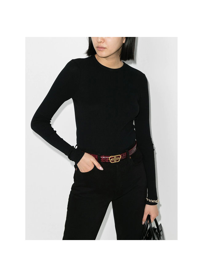Long Sleeve Fitted Top in Ribbed Cotton in Black