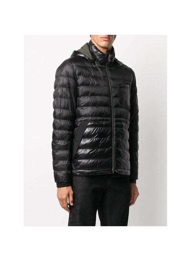Hooded Padded Outwear Jacket in Black