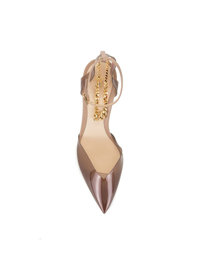 Piper Pumps with Chain Strap in Transparent Nude