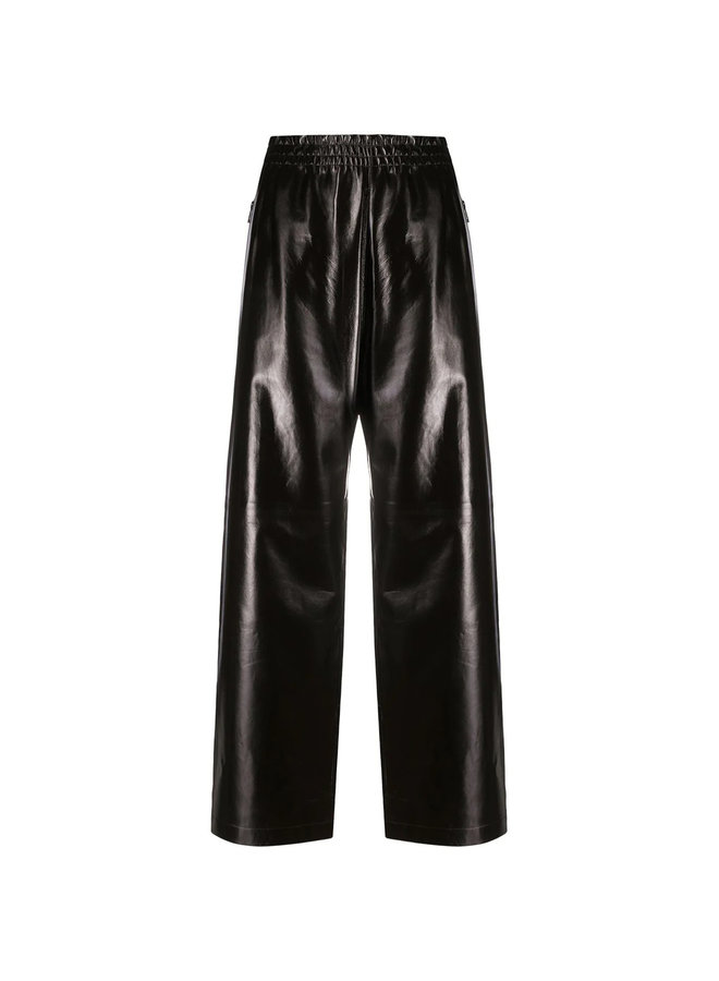 High Waist Wide Leg Leather Pants