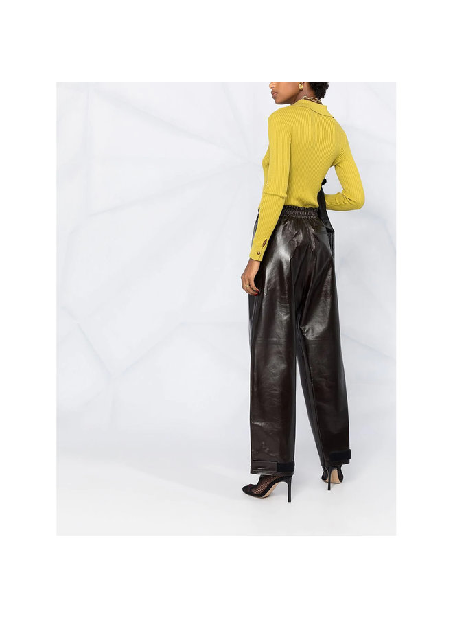 High Waist Wide Leg Pants in Leather in Dark Brown