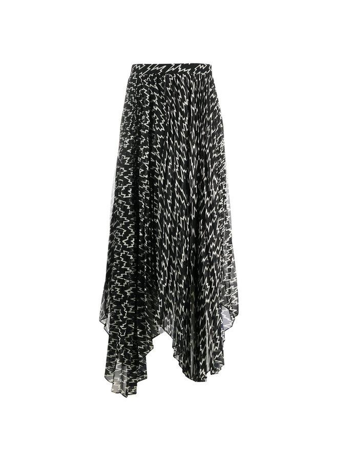 Midi Asymmetric Printed Skirt