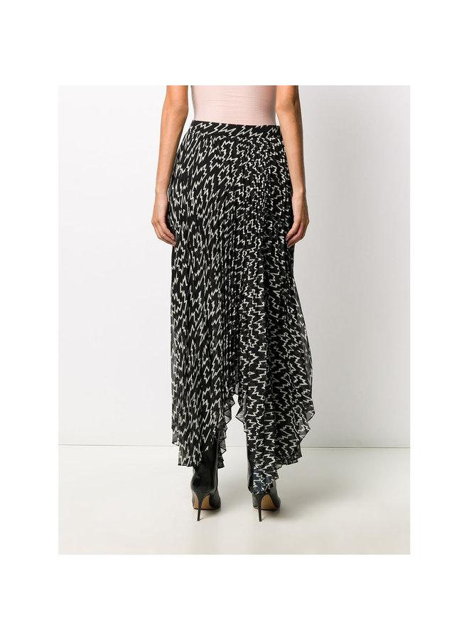 Midi Asymmetric Printed Skirt  in Black