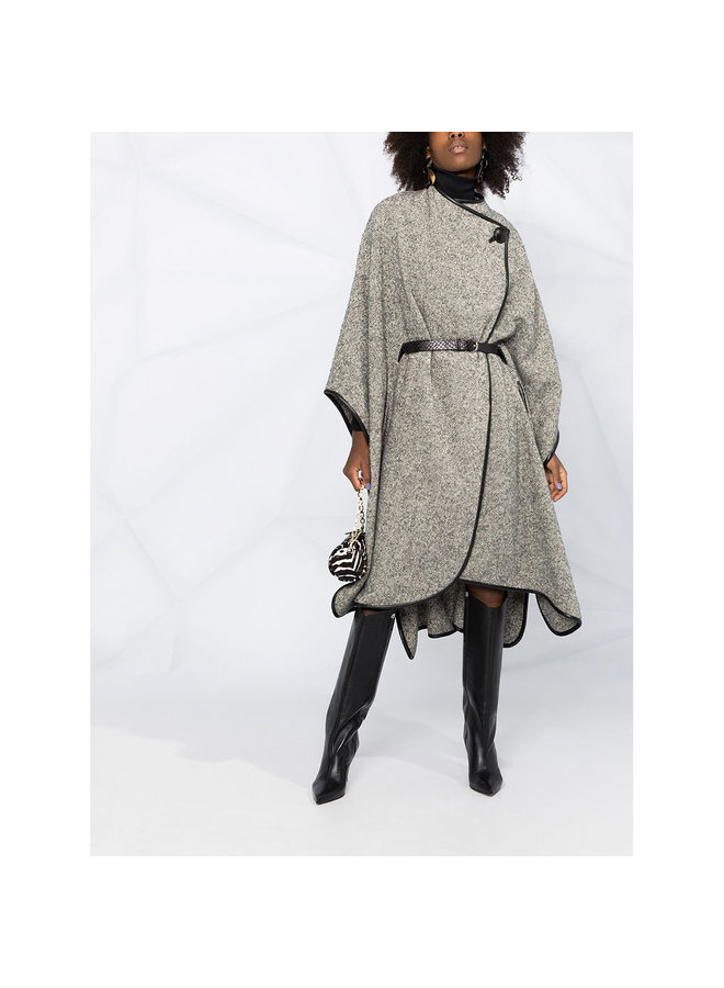 Long Cape in Wool in Grey