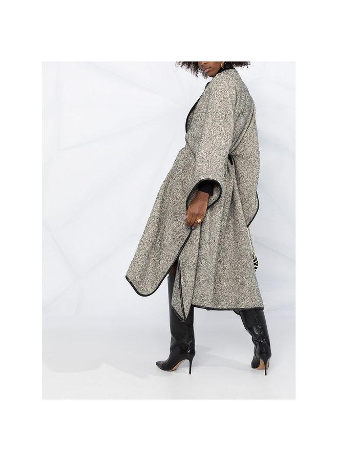 Long Cape in Wool in Grey