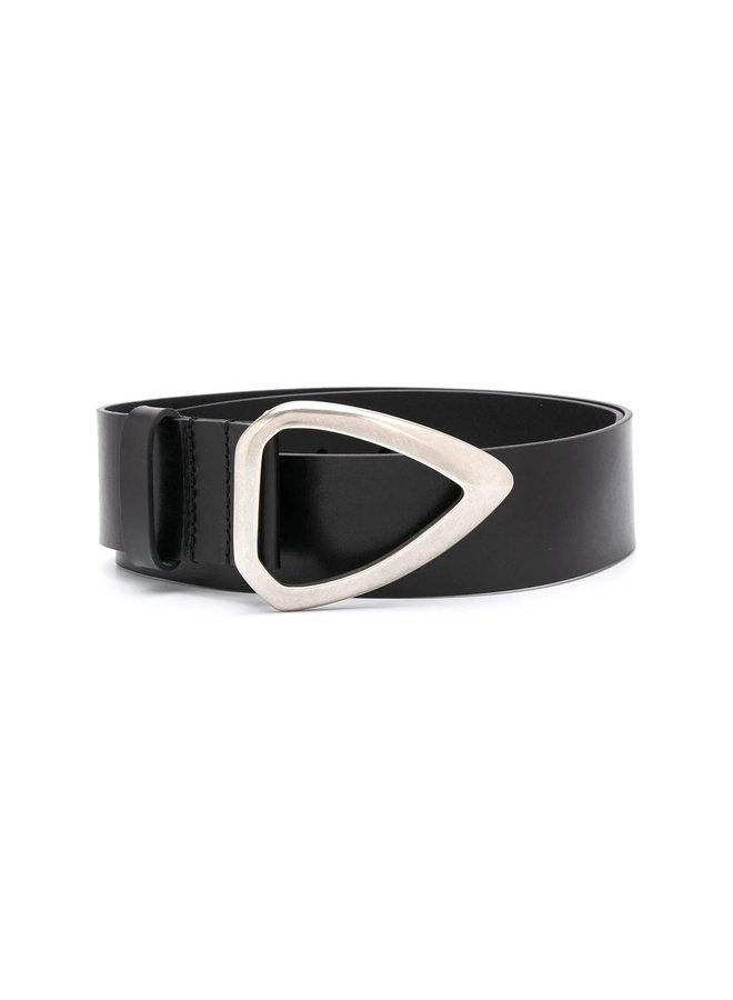Buckle Belt in Leather in Black