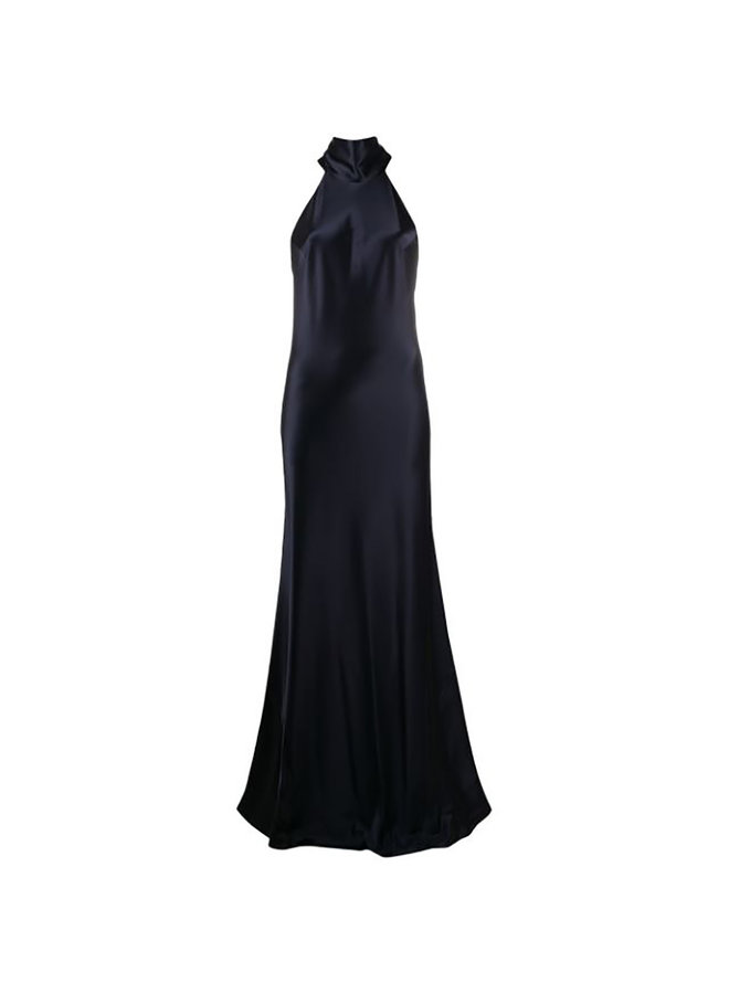 Long Gown in Silk Satin in Midnight Blue