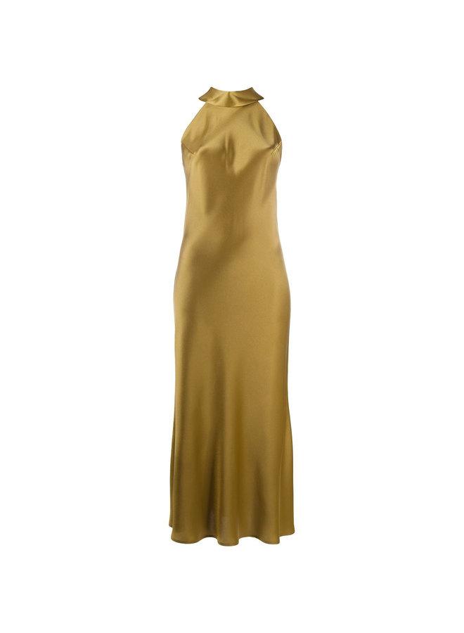 Midi Halterneck Dress in Satin in Safari Green