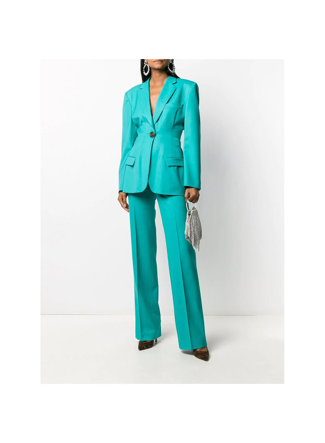High Waist Tailored Pants in Wool in Peacock