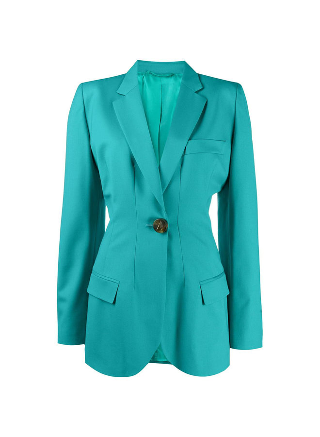 Blazer Jacket in Wool in Peacock