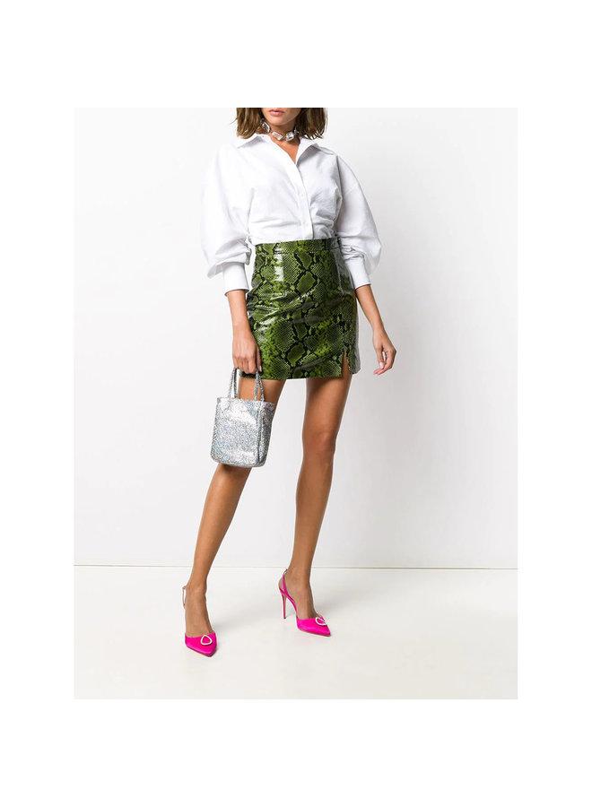 Mini Skirt in Snake Print Leather in Green