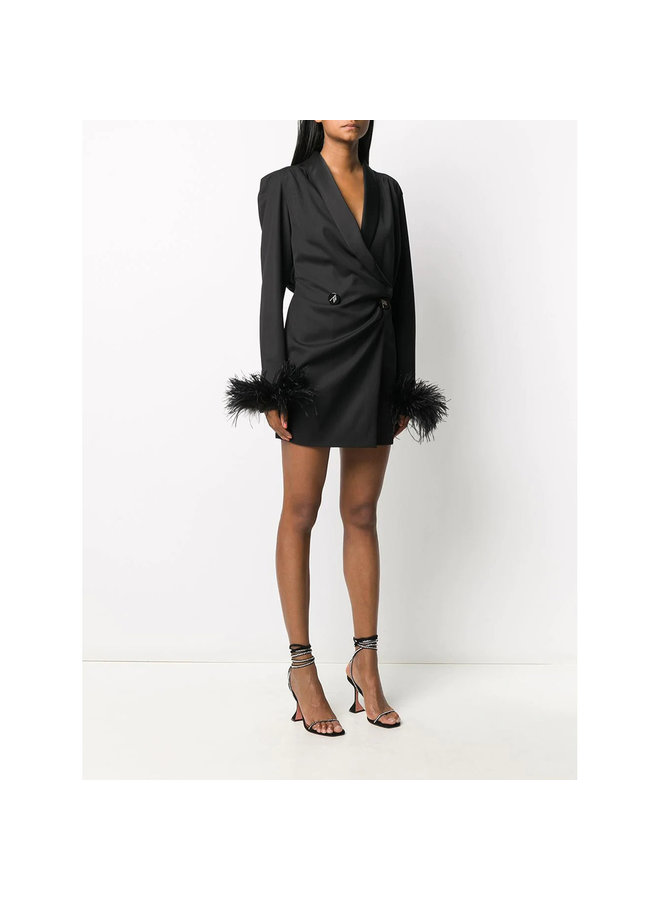 Mini Double Breasted Dress with Feathers in Black