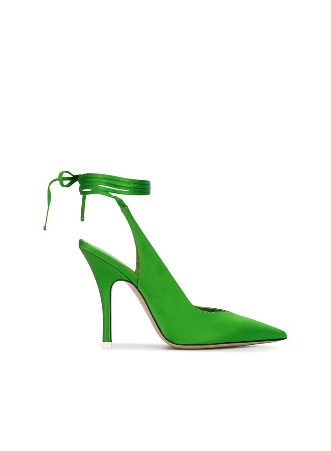 High Heel Lace Up Pumps in Emerald