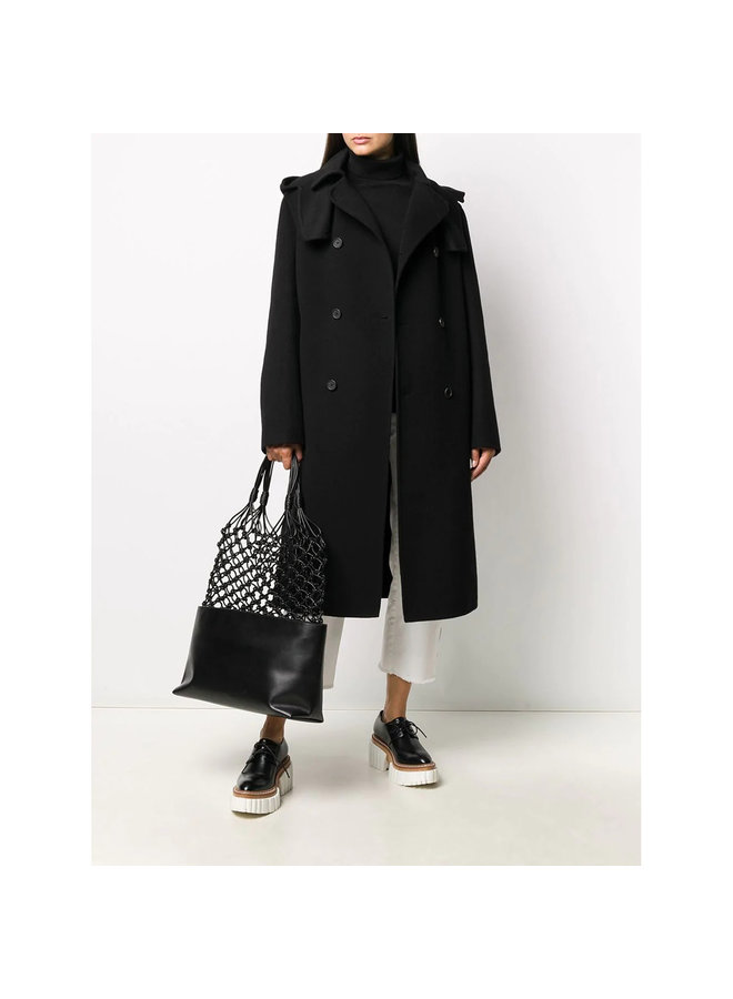 Long Double Breasted Coat in Wool in Black