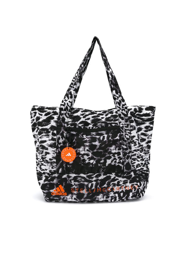 Large Shoulder Bag in Leopard Print in Black/White
