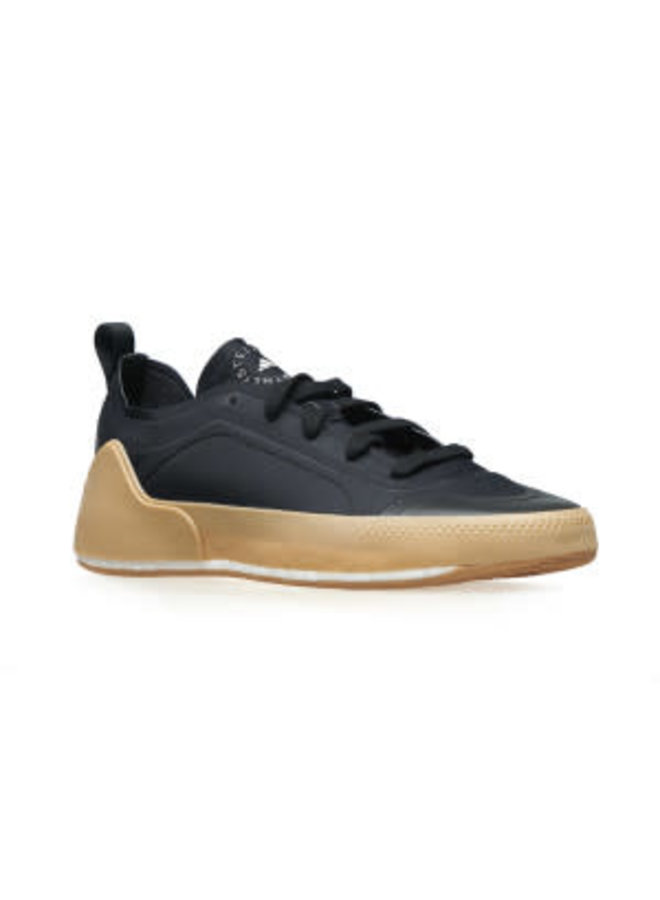 Low Top Sneakers with Rubber Sole in Black/Natural