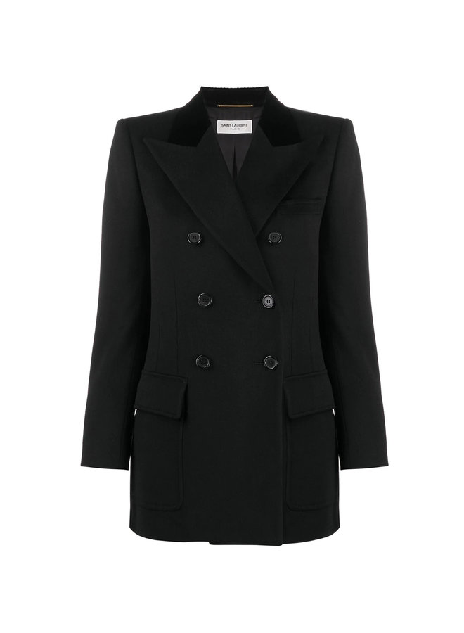 Double Breasted Cashmere Blend Blazer Jacket