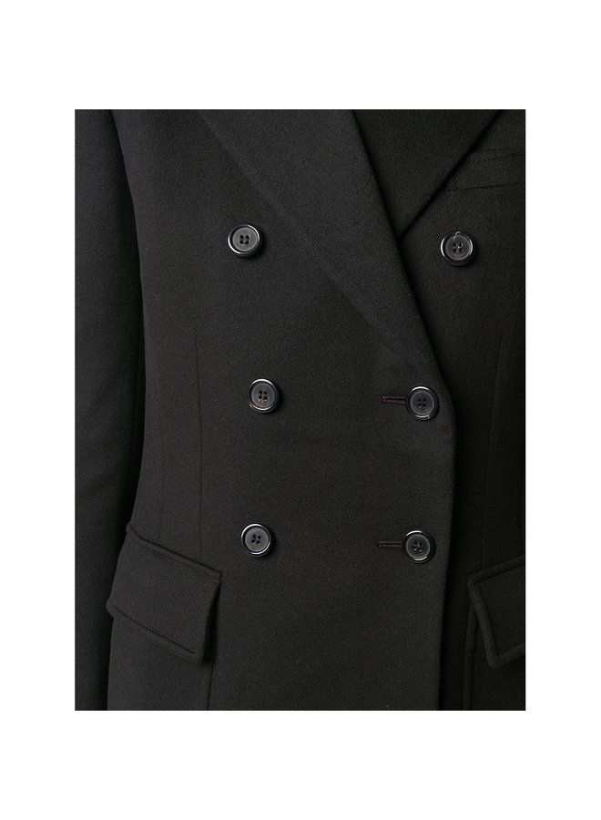 Double Breasted Blazer Jacket in Wool/Cashmere in Black