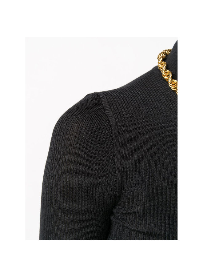 Fitted Turtleneck Knitted Top in Cashmere/Wool/Silk in Black