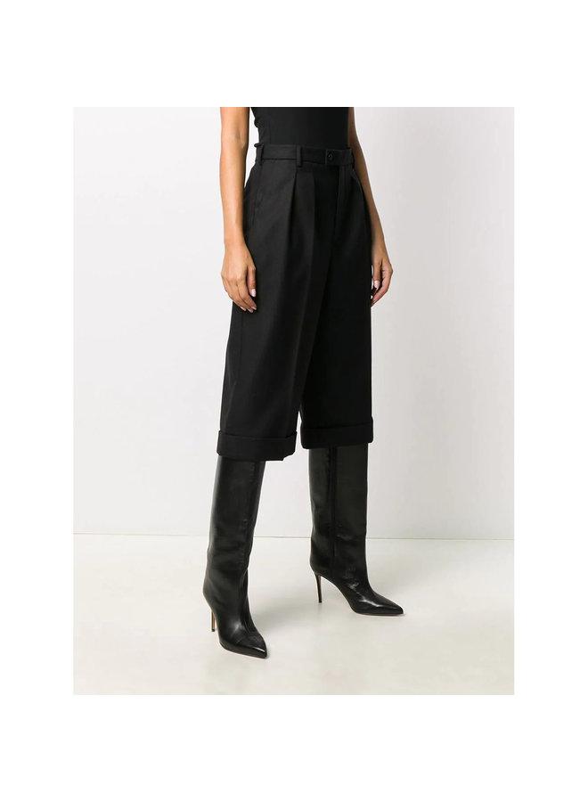 High Waist Culotte in Wool in Black
