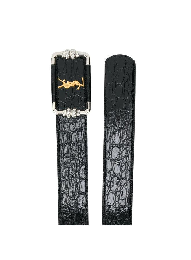 Monogram Leather Belt in Black