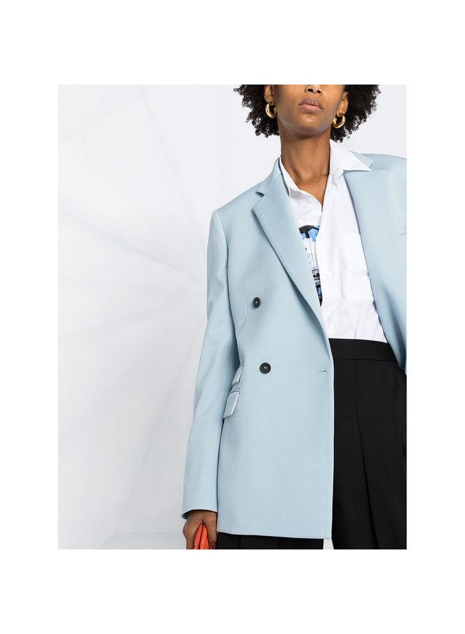 Oversized Double Breasted Blazer Jacket in Wool in Baby Blue