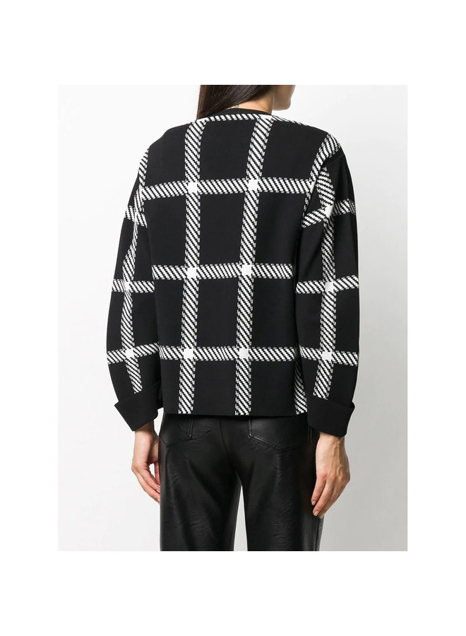 Knitted Sweatshirt in Check Print in Black/White